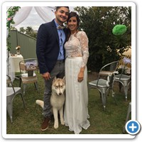 Alberto and his bride Andrea with their dog Kevin