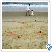 Beach heart after ceremony