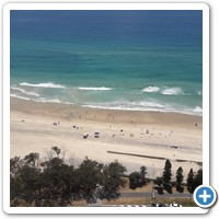 Spectacular view over the beach from a Surfers Paradise hi-rise.