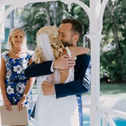 Gethin and Lianne embrace after their wedding ceremony