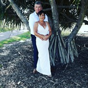 Dave and Mary under a friendly Pandanus tree