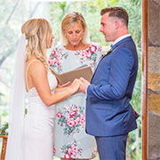 Lisa and Cameron being united in marriage by Celebrant Sue
