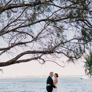 Sharyn and Shaun express their Love with the Broadwater as backdrop
