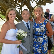 Happy couple Taylor and Kaira with their marrigage  celebrant Sue Raward