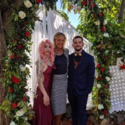Alicia, Sue and Alex on their wedding day in August 2019