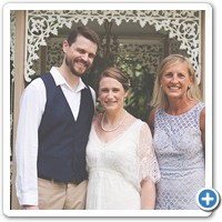 Happy newlyweds Bridget and Steve with Celebrant Sue