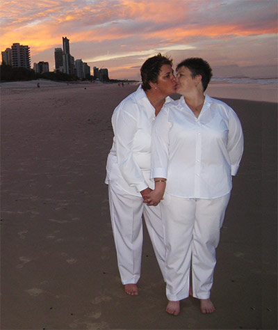 Same sex commitment ceremony Gold Coast beach