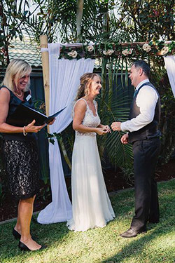 Celebrant Sue Raward reading marriage vows at a recent Gold Coast wedding
