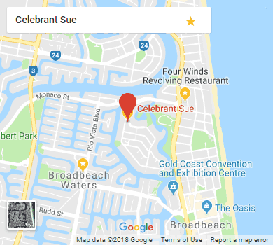 Google Map showing Celebrant Sue