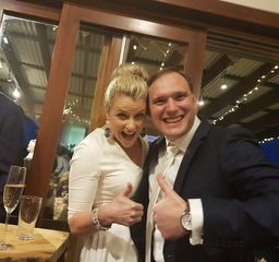 Thumbs up from newlyweds Tarryn and Lochie Lawrence